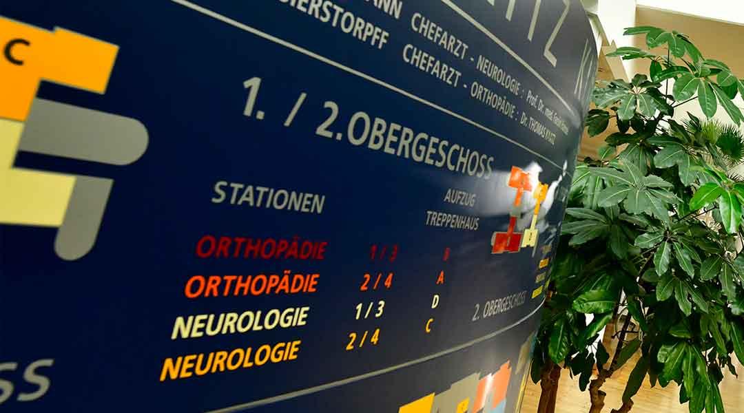 Die Orthopädie und Neurologie finden Sie im 1. / 2. Obergeschoss