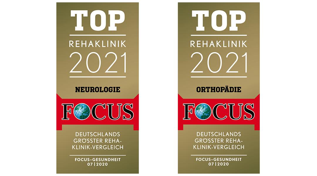 Focus Siegel mit Auszeichnung als TOP Rehaklinik 2021