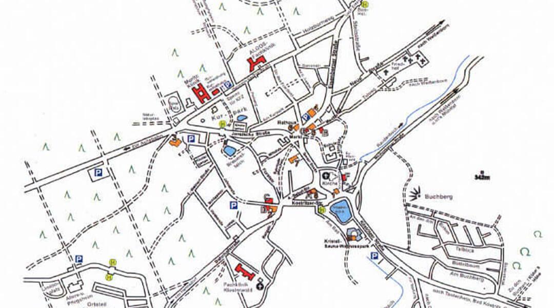 Der Stadtplan von Bad Klosterlausnitz in Thüringen